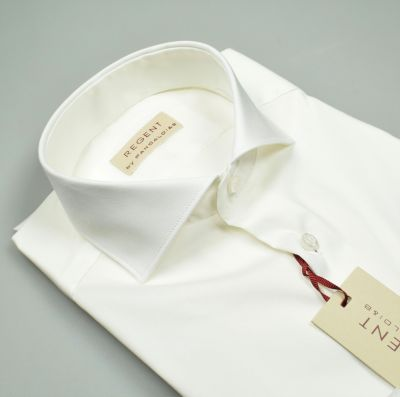 Pancaldi shirt slim fit white cotton stretch neck at the French