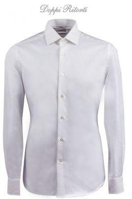 Camicia ingram bianca slim fit in cotone twill diagonale doppio ritorto