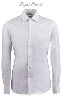 Slim fit white ingram shirt in double twisted diagonal twill cotton