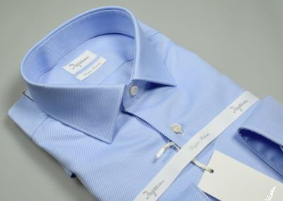 Slim fit light blue ingram shirt in double twisted diagonal twill cotton