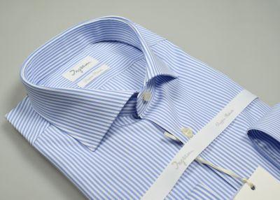 Camicia ingram a righe celeste slim fit in cotone doppio ritorto