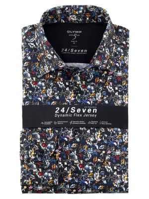 Olymp level five shirt in blue jersey floral pattern slim fit