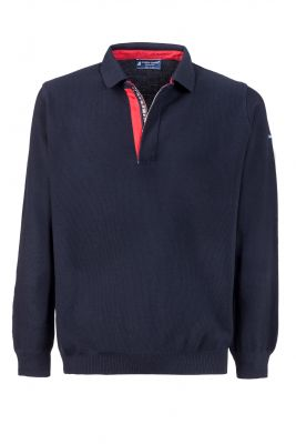 Modern fit blue zip-up polo shirt made in Italy