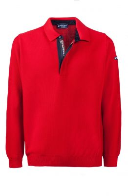 Modern fit made in Italy red green coast zip polo shirt