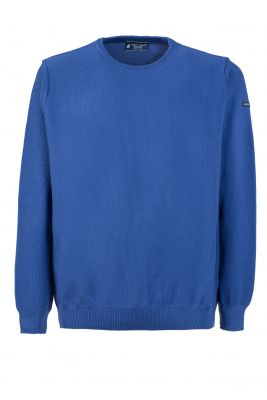 Maglione regular fit a giro collo azzurro green coast made in italy