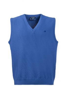 Light blue vest with modern fit v green coast neckline