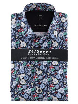 Camicia olymp in jersey maniche corte fantasia floreale modern fit