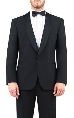 Smoking nero digel con petto a scialle lana marzotto modern fit