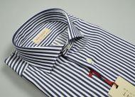 Slim fit shirt pure blue striped cotton pancaldi