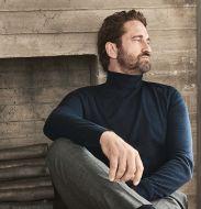 Olymp black turtleneck sweater in extra fine merino wool