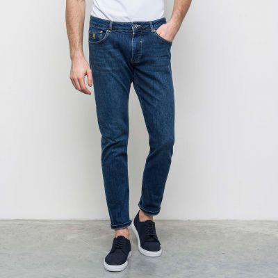 Mcs blue denim jeans stretch stone washed cotton