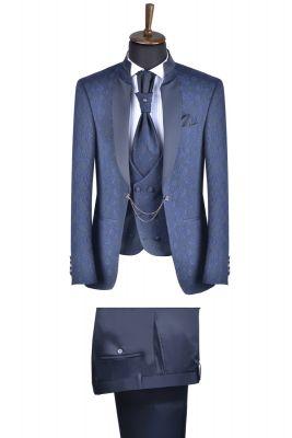 Abito slim fit alla coreana blu damascato con gilet e cravatta