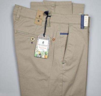 Regular fit sea barrier beige trousers in stretch cotton