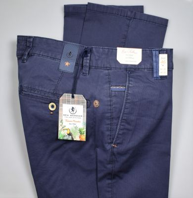 Regular fit sea barrier blue trousers in stretch cotton