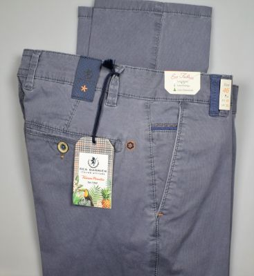Regular fit sea barrier grey trousers in stretch cotton