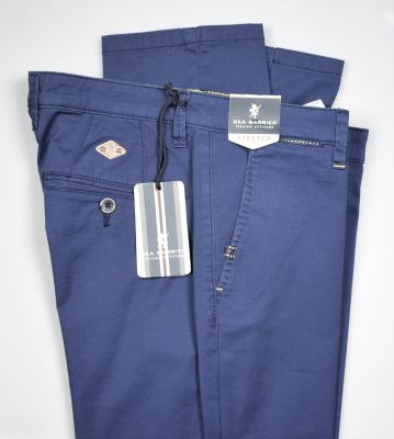 Sea barrier blue trousers in modern fit stretch cotton