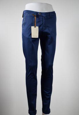 Dark blue slim fit cotton stretch trousers