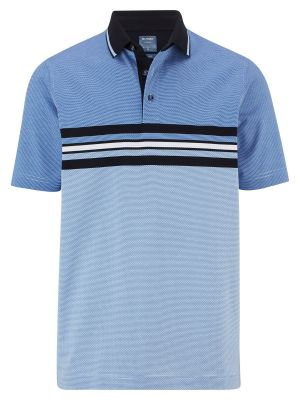 Blue olymp striped polo shirt in mercerized cotton