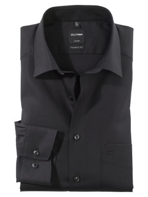 Olymp luxor modern fit pure cotton easy ironing black shirt