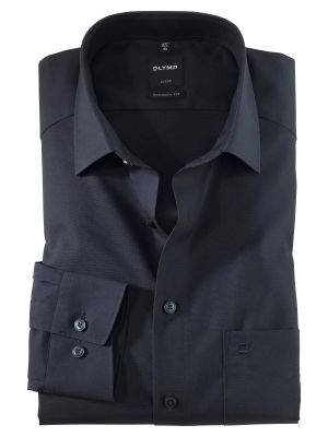 Olymp luxor modern fit pure cotton easy ironing dark blue shirt
