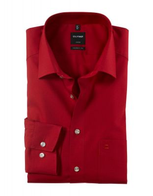 Olymp luxor modern fit pure cotton easy ironing red shirt