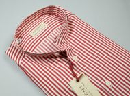 Camicia pancaldi slim fit collo alla coreana a righe rosse