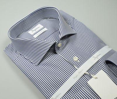 Camicia ingram a righe blu slim fit in cotone doppio ritorto