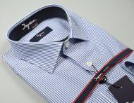 Camicia ingram slim fit a righe azzurro cotone no stiro