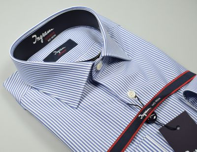 Ingram slim fit shirt with blue cotton stripes no ironing