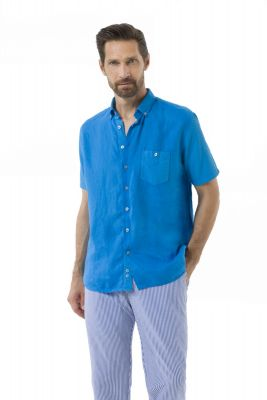 Turquoise shirt in pure linen green coast made in Italy