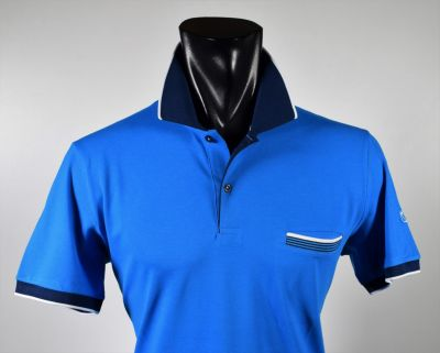 Modern fit turquoise scottish cotton vela blu polo shirt