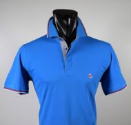 Modern fit turquoise polo vela blu in scottish cotton