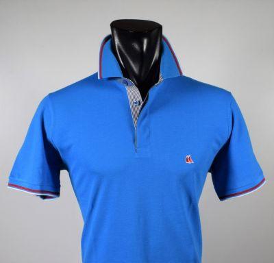 Modern fit turquoise polo vela blu in scottish cotton