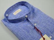 Camicia azzurra in puro lino pancaldi slim fit collo alla coreana