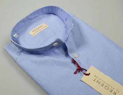 Camicia pancaldi slim fit collo alla coreana a righe azzurro