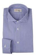 Camicia ingram slim fit a righe azzurro in cotone organico