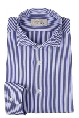 Ingram slim fit shirt with blue stripes in organic cotton