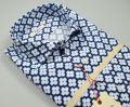 Blue cotton shirt printed ingram slim fit