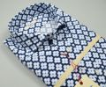 Camicia blu in cotone stampato ingram slim fit