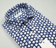 Camicia ingram slim fit cotone e lino fantasia stampata