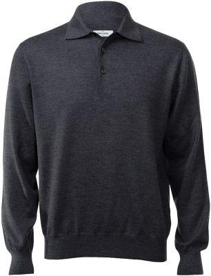 Polo gran sasso regular fit wool merinos grey anthracite