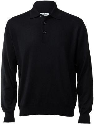 Polo gran sasso regular fit black merinos wool