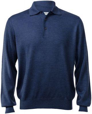 Polo gran sasso regular fit wool merinos denim blue