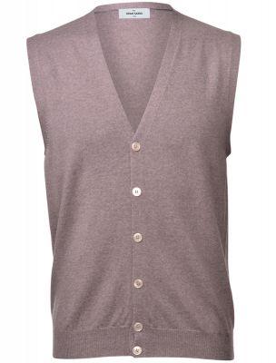 Hazelnut gran sasso vest with merino wool buttons