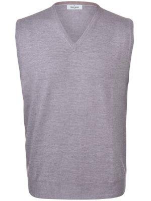 Gilet con scollo v grigio gran sasso lana merinos