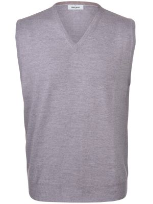 Vest with neckline v gray gran sasso wool merinos