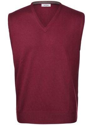 Vest with neckline v bordeaux gran sasso wool merinos