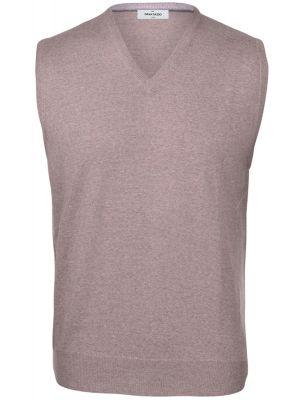 Vest with neckline v hazelnut gran sasso wool merinos