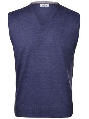 Vest with neckline v blue denim gran sasso wool merinos