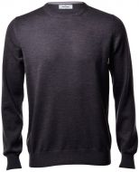 Round neck gran sasso grey anthracite slim fit wool merinos